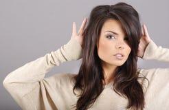 Het portret van de aantrekkingskracht van sexy vrouw Stock Fotografie