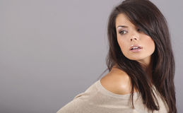 Het portret van de aantrekkingskracht van sexy vrouw Stock Foto's