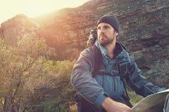 Het portret van de avonturenmens Stock Foto