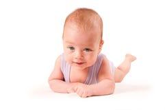 Het portret van de baby dat op witte achtergrond wordt geïsoleerdk Stock Fotografie