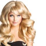 Het Portret van de blondevrouw stock foto
