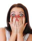 Het portret van de close-up van de doen schrikken vrouw. Royalty-vrije Stock Foto