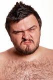 Het portret van de close-up van de expressieve mens met grappig gezicht Stock Afbeelding