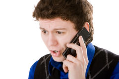 Het portret van de close-up van de verstoorde mens met mobiele telefoon Royalty-vrije Stock Foto's
