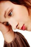 Het portret van de close-up van droevige vrouw. royalty-vrije stock foto's