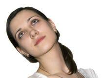 Het portret van de close-up van een mooie jonge vrouw royalty-vrije stock foto