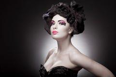Het portret van de close-up van een mooie jonge vrouw Royalty-vrije Stock Fotografie