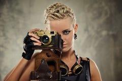 Het portret van de close-up van een stoom punkmeisje royalty-vrije stock afbeeldingen