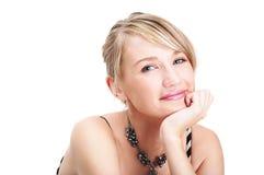 Het portret van de close-up van gelukkig jong meisje Royalty-vrije Stock Afbeeldingen