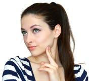 Het portret van de close-up van gelukkige jonge vrouw Stock Afbeeldingen
