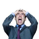 Het portret van de close-up van het boze rijpe mens schreeuwen Stock Foto's