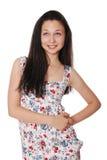 Het portret van de close-up van het gelukkige jonge vrouw glimlachen Stock Foto's