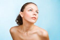 Het portret van de close-up van Kaukasische vrouw Stock Foto
