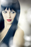 Het portret van de close-up van leuke jonge vrouw Stock Foto's