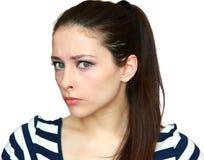 Het portret van de close-up van mooie boze vrouw Stock Afbeeldingen