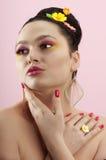 Het portret van de close-up van mooie brunette Royalty-vrije Stock Fotografie