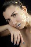 Het portret van de close-up van mooie brunette Royalty-vrije Stock Afbeeldingen