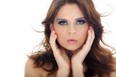 Het portret van de close-up van mooie vrouw met professi Stock Fotografie