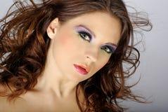 Het portret van de close-up van mooie vrouw met professi Stock Afbeeldingen