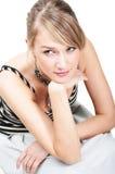 Het portret van de close-up van romantisch jong meisje Royalty-vrije Stock Afbeeldingen