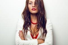 Het portret van de close-up van seksuele vrouw Royalty-vrije Stock Foto