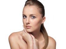 Het portret van de close-up van sexy Kaukasische jonge vrouw Stock Afbeeldingen