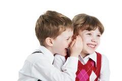 Het portret van de close-up van twee kinderen in bed Royalty-vrije Stock Foto