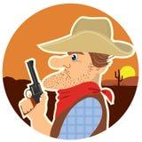 Het portret van de cowboy. Vector kleurenbeeldverhalen Stock Afbeelding