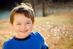 Het portret van de daling of van de herfst van gelukkige jongen stock fotografie