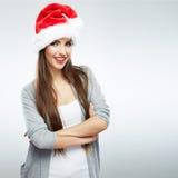 Het portret van de de hoedenvrouw van de Kerstmiskerstman. stock foto's
