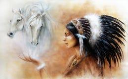 Het Portret van de de Maniervrouw van de illustratieglamour met witte paarden, m Royalty-vrije Stock Afbeeldingen