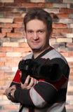 Het portret van de fotograaf van een mens Stock Foto's