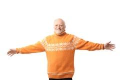 Het portret van de gelukkige hogere mens bewapent uitgestrekt Royalty-vrije Stock Foto's