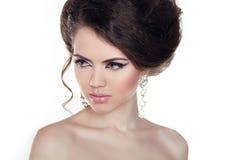 Het portret van de glamour van mooi vrouwenmodel. Juwelen en Schoonheid. FA Stock Afbeelding