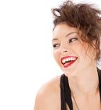 Het portret van de glimlachvrouw Stock Afbeelding