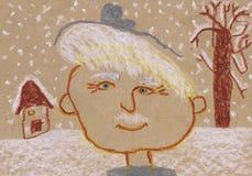 Het portret van de grootvader op de de winterstraat De tekening van kinderen Stock Afbeelding