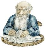 Het portret van de karikatuur van Leeuw Tolstoy Stock Afbeeldingen