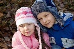 Het Portret van de Kinderen van de winter Royalty-vrije Stock Afbeeldingen