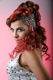 Het portret van de manier van brunette met sterke make-up Stock Fotografie