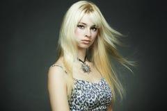 Het portret van de manier van de jonge blonde vrouw Stock Fotografie