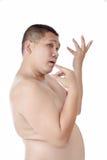 Het portret van de mollige naakte Aziatische man stelt als als mooi Stock Foto