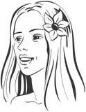 Het portret van de mooie Betoverende Vrouw met bloem Stock Foto's