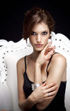 Het portret van de mooie jonge vrouw Royalty-vrije Stock Foto