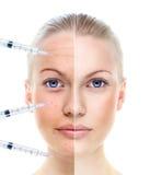 Het portret van de mooie vrouw dat op wit, before and after r wordt geïsoleerdw stock foto