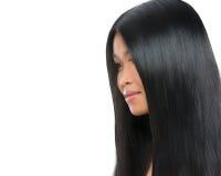 Het portret van de schoonheid van Aziatische donkerbruine vrouw Stock Afbeeldingen