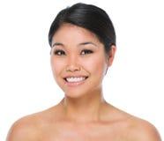 Het portret van de schoonheid van glimlachende Aziatische donkerbruine vrouw Royalty-vrije Stock Foto's