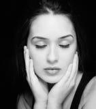 Het portret van de schoonheid van sensuele zuivere vrouw Stock Fotografie