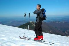Het portret van de skiër stock foto's