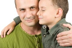 Het portret van de vader en van de zoon Stock Fotografie