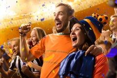 Het portret van de ventilatorsemoties van het stadionvoetbal stock fotografie